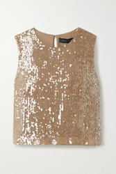 Sally Lapointe Cropped Paillette Embellished Georgette Top Light Brown