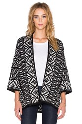 Velvet By Graham And Spencer Yolo Fair Isle Jacquard Cardigan Black And White