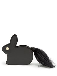 Hillier Bartley Bunny Leather And Suede Clutch Black