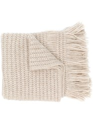 Luisa Cerano Fringed Knit Scarf Nude And Neutrals