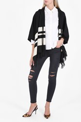 Frame Denim Hooded Stripe Poncho Blk Stripe