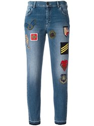 Mr And Mrs Italy Patched Cropped Jeans Blue