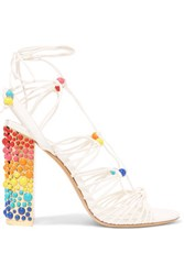 Salvatore Ferragamo Beaded Leather Sandals White