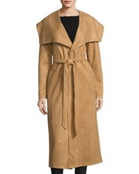 State Of Being Isabel Faux Suede Coat Tan