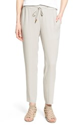Women's Eileen Fisher Silk Crepe Drawstring Waist Ankle Pants Silver