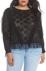 Lost Ink Plus Size Ruffle Trim Lace Top Black