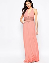 Forever Unique Caris Maxi Dress With Beaded Waistband Peach Orange