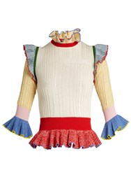 Alexander Mcqueen Peplum Hem Wool And Silk Blend Sweater Multi