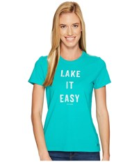 Life Is Good Lake It Easy Crusher Tee Bright Teal Women's T Shirt Blue