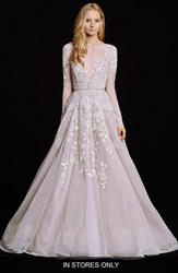 Women's Hayley Paige 'Hayley' Embellished English Net And Tulle Long Sleeve Ballgown In Stores Only
