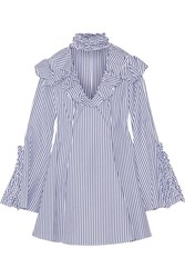 Caroline Constas Micki Ruffled Striped Cotton Oxford Mini Dress Blue