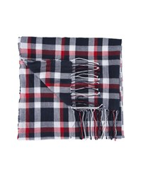 Tommy Hilfiger Blue Tricolour Check Cotton Scarf
