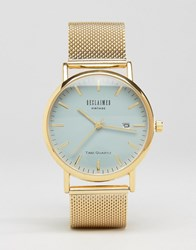 Reclaimed Vintage Gold Mesh Watch With Grey Dial Gold