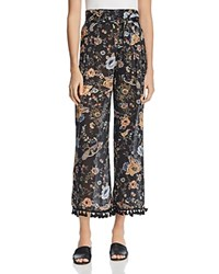 Molly Bracken Tasseled Floral Print Pants Black
