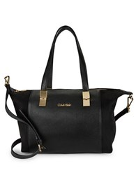 Calvin Klein Suede And Pebbled Satchel Black