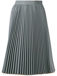Marios Contrast Hem Pleated Skirt Women Polyester S Grey
