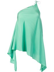 Danielapi One Shoulder Draped Top Green