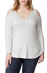 Rebel Wilson X Angels Plus Size Strappy Cold Shoulder Top Light Heather