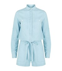 Denim And Supply Ralph Lauren Cotton Linen Chambray Playsuit Female Blue