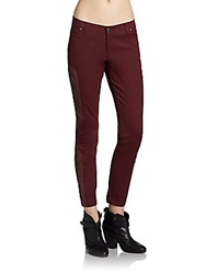 Sachin Babi Lorena Leather Paneled Moto Pants Bordeaux