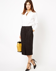 Asos Pencil Skirt In Pinstripe Black