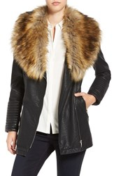 Love Token Women's Faux Leather Jacket With Faux Fur Collar