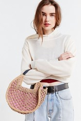 Urban Outfitters Small Circle Straw Tote Bag Neutral