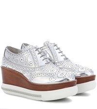 Miu Miu Platform Metallic Leather Brogues Silver