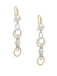 Majorica 8Mm White Round Pearl Multi Link Drop Earrings Gold White