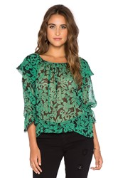 Twelfth St. By Cynthia Vincent Ruffle Tie Blouse Green
