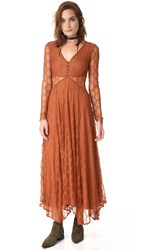 Free People Guinevere Lace Maxi Dress Bronze