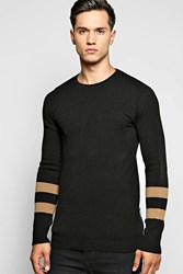 Boohoo Striped Sleeved Sweater With Side Zips Black