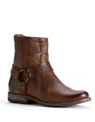 Frye Phillip Harness Short Vintage Leather Boot Cognac