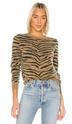Madeleine Thompson Doc Pullover In Brown. Camel And Green Zebra