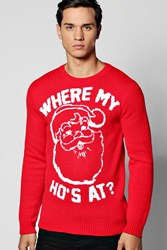 Boohoo Where My Ho's At Christmas Jumper Red