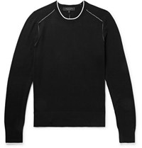Rag And Bone Slim Fit Contrast Tipped Cotton Silk Cashmere Blend Sweater Black