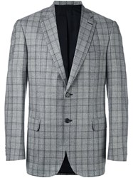 Brioni Plaid Blazer Black