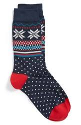 Women's Corgi Fair Isle Knit Cotton Blend Socks