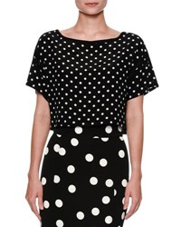 Dolce And Gabbana Cropped Micro Polka Dot Top Black White Multi Pattern