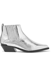 Rag And Bone Westin Metal Trimmed Metallic Textured Leather Ankle Boots It37.5