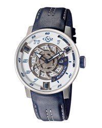 Gv2 48Mm Men's Motorcycle Sport Automatic Watch W Leather Strap Blue