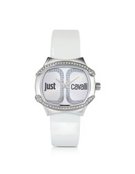 Just Cavalli Born Collection Oblong Logo Watch White