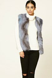 Forever 21 Multicolored Faux Fur Vest Lavender Grey