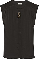 Day Birger Et Mikkelsen Night Laquer Embellished Washed Crepe De Chine Top Black