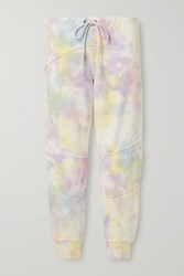 Loveshackfancy Etty Cropped Tie Dyed Cotton Blend Jersey Track Pants White