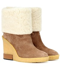 Tod's Suede Wedge Ankle Boots Beige