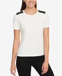 Tommy Hilfiger Faux Leather Trim T Shirt Created For Macy's Ivory