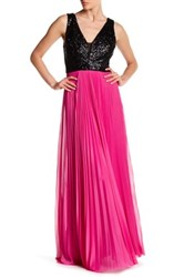 Nicole Miller New York Sequin Pleated Chiffon Gown Multi