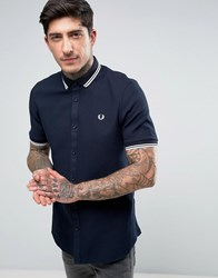 Fred Perry Short Sleeve Shirt Twin Tipped Waffle In Navy Navy