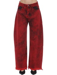 Marques Almeida Cotton Denim Boyfriend Jeans Red